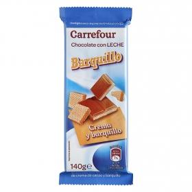 Chocolate con leche relleno de barquillo Carrefour 140 g.