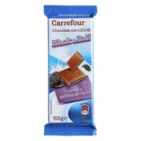 Chocolate con leche relleno de crema y galleta al cacao Carrefour 155 g.