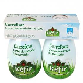 Kéfir desnatado líquido Carrefour pack de 2 unidades de 200 g.