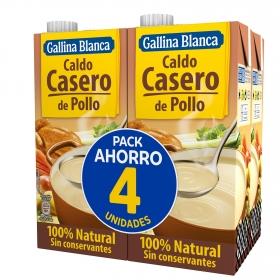 Caldo casero de pollo Gallina Blanca pack de 4 briks de 1 l.