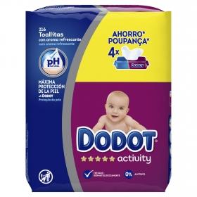 Toallitas para bebé Dodot Activity pack de 4 paquetes de 54 ud.