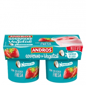 Preparado de coco cremoso con fresa Andros pack de 2 unidades de 120 g.