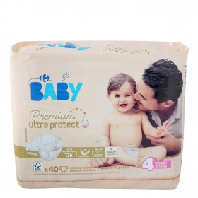 Pañales Premium Ultra Protect Carrefour Baby T4 (7kg.-18kg.) 40 ud.