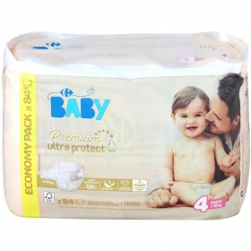 Pañales Premium Ultra Protect Carrefour Baby T4 (7kg.-18kg.) 84 ud.