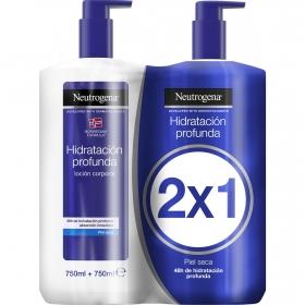 Loción corporal hidratación profunda para piel seca Neutrógena pack 2 unidades de 750 ml.