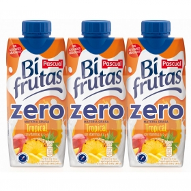 Zumo tropical zero sin azúcar añadido Bifrutas sin gluten pack de 3 briks de 330 ml.