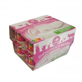 Queso fresco batido desnatado 0% Carrefour pack de 8 unidades de 100 g.
