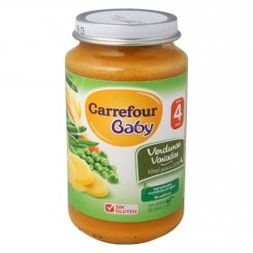 Tarrito de verduras variadas desde 4 meses Carrefour Baby sin gluten 250 g.