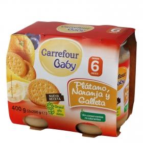 Tarrito de plátano, naranja y galleta desde 6 meses Carrefour Baby pack de 2 unidades de 200 g.