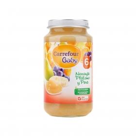 Tarrito de naranja, plátano y pera desde 6 meses Carrefour Baby sin gluten 250 g.