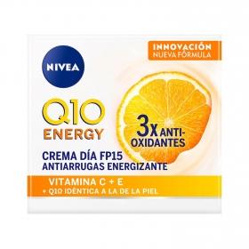 Crema de día antiarrugas + energizante SP 15 para piel cansada Nivea Q10 plus C 50 ml.