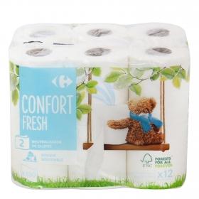 Papel higiénico Confort Fresh Carrefour 12 rollos.