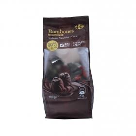 Bombones de chocolate negro con avellana, almendra y cacao Carrefour 180 g.