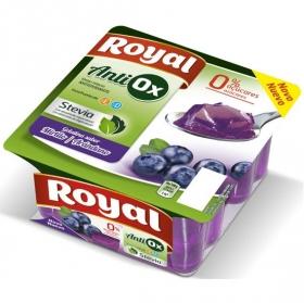 Gelatina sabor arándanos antiox sin azúcar añadido Royal pack de 4 unidades de 100 g.