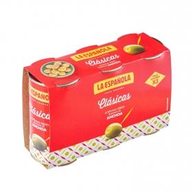 Aceitunas verdes rellenas de anchoa La Española pack de 3 latas de 150 g.