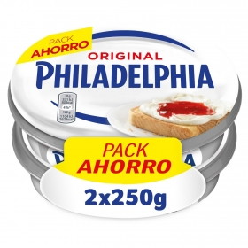 Crema de queso de untar natural Philadelphia pack de 2 unidades de 250 g.