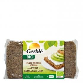 Pan de centeno integral con avena y semillas de lino ecológico Gerblé Bio 500 g.