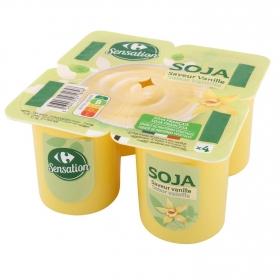Postre de soja sabor vainilla Carrefour pack de 4 unidades de 100 g.