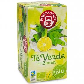 Té verde con limón en bolsitas ecológico Pompadour 18 ud.