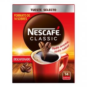 Café soluble descafeinado en sobres classic Nescafé 14 ud.