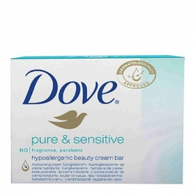Jabón de manos en pastilla Pure&Sensitive Dove pack de 2 unidades de 100 g.