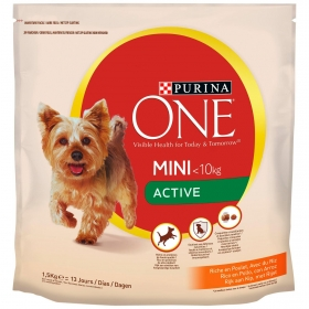 Pienso de pollo y arroz para perro adulto Mini Purina One Active 1,5 Kg.