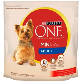 Pienso de buey y arroz para perro adulto Mini Purina One 1,5 Kg.