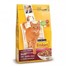 Pienso para gato adulto buey, pollo y verduras Purina Friskies  4Kg
