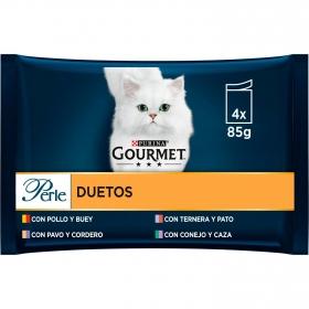 Purina Gourmet Perle Comida Húmeda para Gato Finas Láminas DUO Carnes Delicadas 4x85g