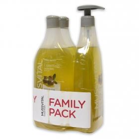 Gel dosificador de aceite de oliva Essentials Hipoalergénico Mussvital pack de 3 unidades de 750 ml.