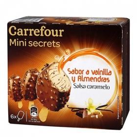 Mini bombón helado sabor vainilla y almendra Carrefour 6 ud.