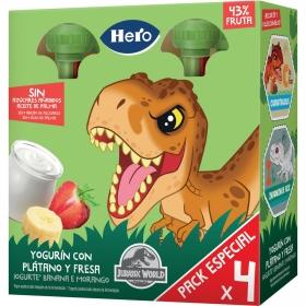 Yogur con plátano y fresa Hero Mi Merienda pack de 4 bolsitas de 100 g.