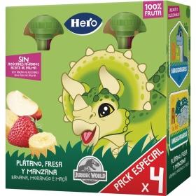 Preparado de plátano y fresa sin azúcar añadido Hero Mi fruta sin gluten pack de 4 bolsitas de 100 g.