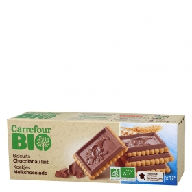Galletas con tableta de chocolate con leche ecológicas Carrefour Bio 150 g.