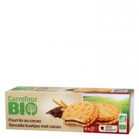 Galletas rellenas de chocolate ecológicas Carrefour Bio 185 g.