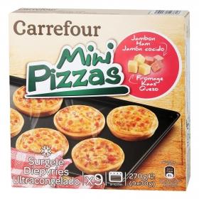Mini pizzas de jamón y queso Carrefour 270 g.