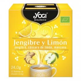 Infusión de jengibre y limón en bolistas ecológica Yogi 12 ud.
