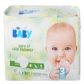 Pañales soft&eco-friendly ecologicos Carrefour Baby T3 (4kg.-9kg.) 30 ud.
