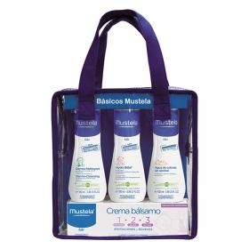 Neceser multiproductos para bebés Mustela: agua de colonia 100 ml., gel dermo limpiador 100 ml, crema bálsamo 50 ml y leche hidratante 100 ml.