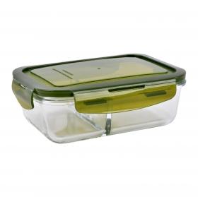 Fiambrera Rectangular con 2 Compartimentos CHEF LA CARTUJA 1000ml - Verde
