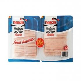 Pechuga de pavo finas lonchas Monells sin gluten y sin lactosa pack de 2 unidades de 180 g.