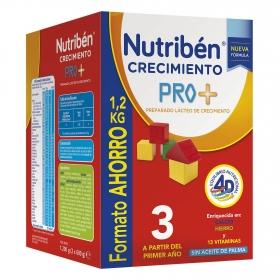 Leche infantil de crecimiento desde 1 año en polvo Nutribén Pro 3 caja 1200 g.