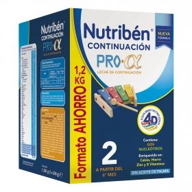 Leche infantil de continuación desde 6 meses en polvo Nutribén Pro 2 caja 1200 g.