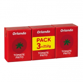 Tomate frito Orlando sin gluten pack de 3 briks de 210 g.