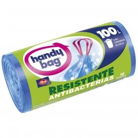 10 Bolsas de basura Handy Bag Resistente Antibacterias 100 Litros- Azul