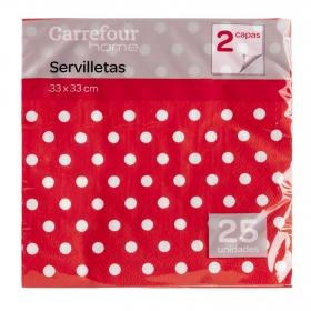 Servilletas CARREFOUR HOME 25 ud -  Topos Rojo