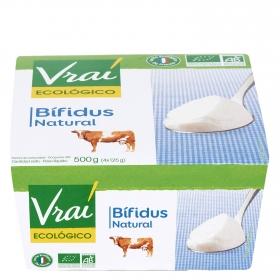 Yogur bífidus natural ecológico Vrai pack de 4 unidades de 125 g.