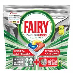 Lavavajillas a máquina platinum plus aroma limón  Todo en 1 en cápsulas Fairy 20 ud.