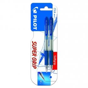 Pack 2 Bolígrafos Tinta Base de Aceite Súper Grip Azules