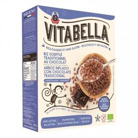 Cereales de arroz con chocolate ecológicos Vitabella sin gluten y sin lactosa 340 g.